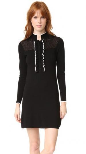 Трикотажное платье Jenny с оборками Shoshanna. Цвет: черный/белый