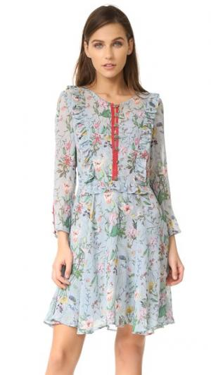 Платье с цветочным рисунком и оборками The Kooples. Цвет: голубой