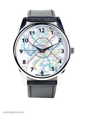 Часы Карта метро Mitya Veselkov. Цвет: черный, белый