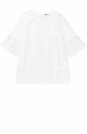 Кружевное платье свободного кроя Ermanno Scervino. Цвет: белый