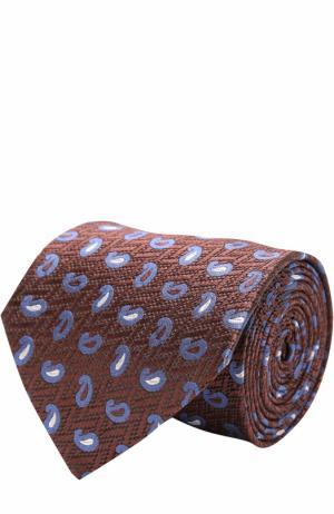 Шелковый галстук с узором Ermenegildo Zegna. Цвет: коричневый