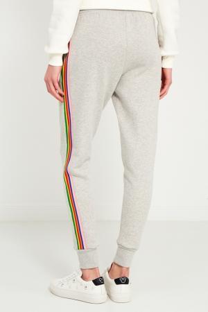 Серые брюки с разноцветными лампасами Etre Cecile. Цвет: серый