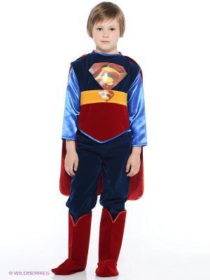 Карнавальный костюм Супермен Батик. Цвет: темно-синий, красный