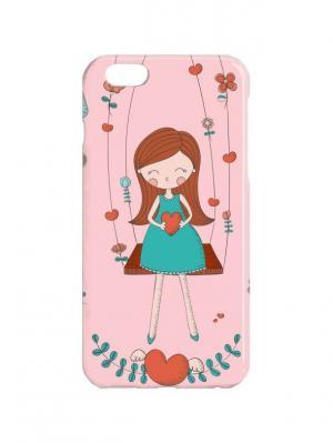 Чехол для iPhone 6Plus Девочка на качелях Арт. 6Plus-200 Chocopony. Цвет: розовый, бирюзовый, коричневый