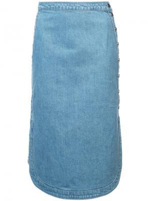 Джинсовая юбка с округлым подолом Vanessa Seward. Цвет: синий