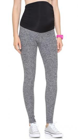 Длинные спортивные леггинсы для беременных с размытым рисунком Beyond Yoga. Цвет: черный/стальной