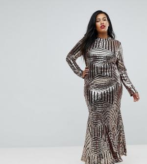 Club L Plus Платье макси с длинными рукавами и блестками. Цвет: золотой
