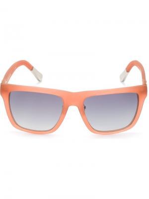 Солнцезащитные очки в квадратной оправе Linda Farrow. Цвет: розовый и фиолетовый