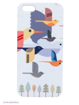 Чехол для IPhone 5 Птицы на белом Mitya Veselkov. Цвет: белый, светло-серый, фиолетовый, желтый