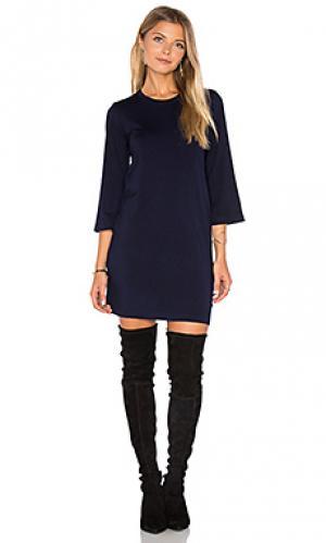 Мини-платье с длинным рукавом MONROW. Цвет: синий