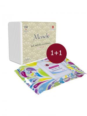 Косметический набор KN1015 Салфетки бумажные, 150 шт + влажные для интимной гигиены, 20 Maneki. Цвет: белый
