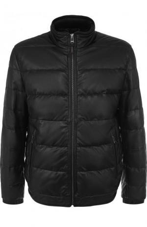 Утепленная кожаная куртка на молнии Windsor. Цвет: черный