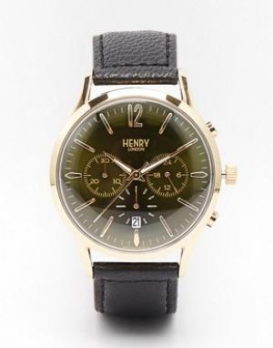 Henry London Часы с хронографом и кожаным ремешком Chiswick. Цвет: черный