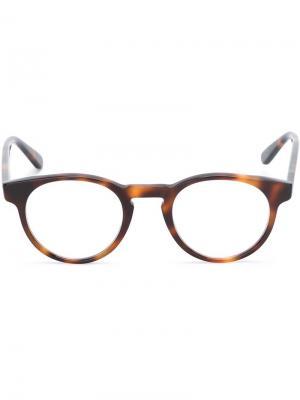 Очки в оправе с эффектом черепашьего панциря Masunaga. Цвет: коричневый
