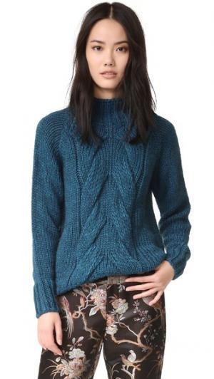 Связанный косичками свитер Otto d'ame. Цвет: голубой