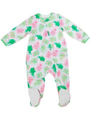 Комбинезон для сна Царевна-лягушка Little Me. Цвет: белый, зеленый, розовый