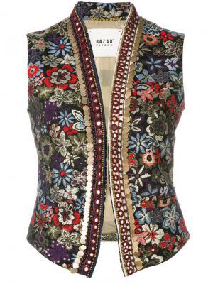 Жилет с цветочной вышивкой Bazar Deluxe. Цвет: чёрный