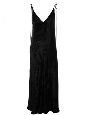Длинное бархатное платье Attico. Цвет: чёрный