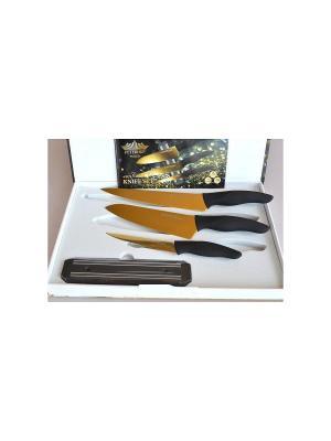 Набор ножей нерж. сталь с магнитным держателем, подарочная упаковка Peterhof. Цвет: золотистый, черный