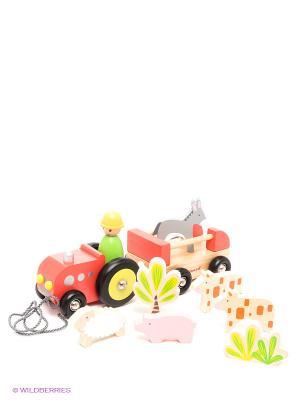 Каталка на веревочке Трактор с животными Janod. Цвет: красный