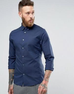Hoxton Shirt Company Строгая оксфордская рубашка узкого кроя. Цвет: темно-синий