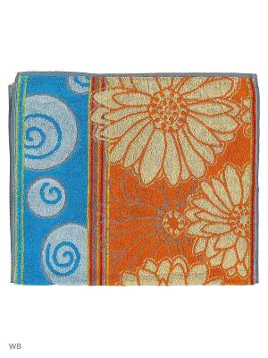 Полотенце махровое пестротканое жаккардовое Ромашки Авангард. Цвет: голубой, оранжевый