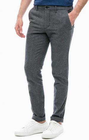 Серые зауженные брюки из хлопка Lacoste. Цвет: серый