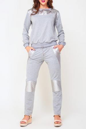Костюм: джемпер, брюки Majaly. Цвет: серый, серебряный