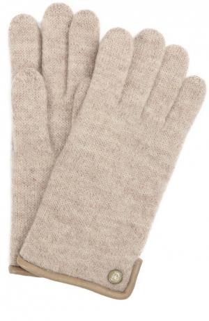 Вязаные перчатки с пуговицей Roeckl. Цвет: коричневый