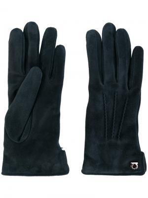Классические перчатки Gancio Salvatore Ferragamo. Цвет: синий
