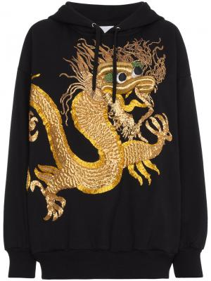 Толстовка с капюшоном и вышитым драконом Ashish. Цвет: чёрный