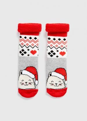 Махровые носки с жаккардом OSTIN. Цвет: светло-серый