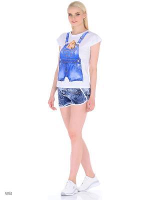 Костюм женский (футболка,шорты) MARSOFINA. Цвет: синий