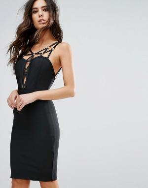 Wow Couture Бандажное платье с ремешками. Цвет: черный
