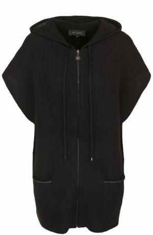 Кашемировый жилет на молнии с капюшоном St. John. Цвет: черный