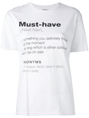Slogan printed T-shirt Anna K. Цвет: белый