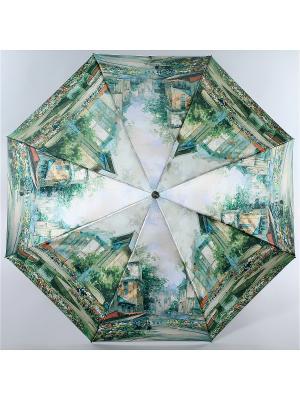 Зонт Trust Женский, 3сложения, Автомат, Полиэстер, Фото-Сатин. Цвет: зеленый, голубой, желтый