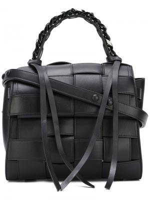 Плетеная сумка-тоут Elena Ghisellini. Цвет: чёрный