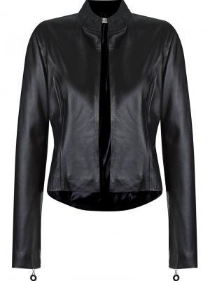 Кожаная куртка без застежки Martha Medeiros. Цвет: чёрный