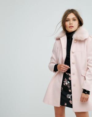 Miss Selfridge Пальто-бушлат с воротником из искусственного меха. Цвет: мульти