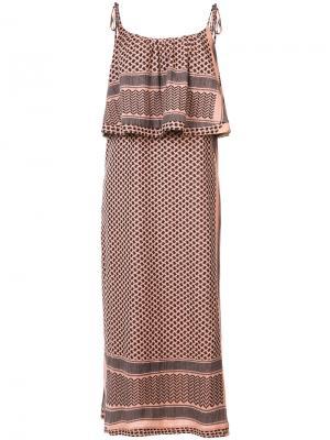 Платье-миди с оборками Cecilie Copenhagen. Цвет: жёлтый и оранжевый