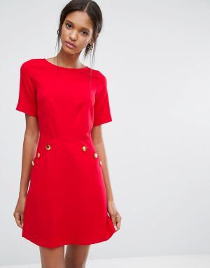 Closet London Платье с короткими рукавами и пуговицами - Красный 5448964