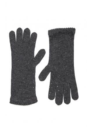 Кашемировые перчатки с шелком PL-16K327 Andre Maurice. Цвет: серый