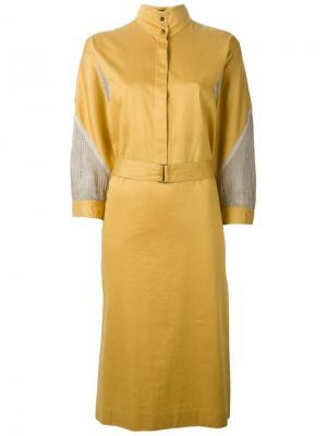 Платье-рубашка с сетчатыми вставками Louis Feraud Vintage. Цвет: жёлтый и оранжевый