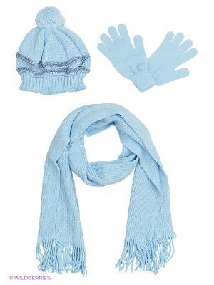 Шапка;  шарф; перчатки Krife. Цвет: голубой
