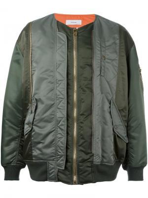 Куртка-бомбер с панельным дизайном Facetasm. Цвет: зелёный