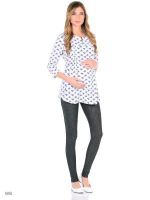 Блузка для беременных FEST. Цвет: молочный, синий