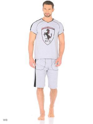 Костюм мужской (футболка, шорты) MARSOFINA. Цвет: серый меланж