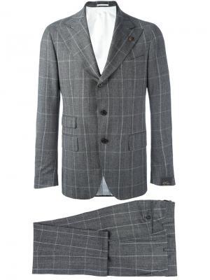 Клетчатый офисный костюм Gabriele Pasini. Цвет: серый