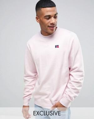 Russell Athletic Свитшот с вышитым логотипом. Цвет: розовый